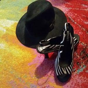 Unlisted Leather Zebra Slingbacks